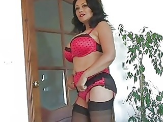 plump chested black haired grown-up lady in brief