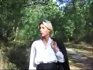 blonde lady drilled inside forest