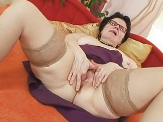 old grandma with glasses fingering furry pussy