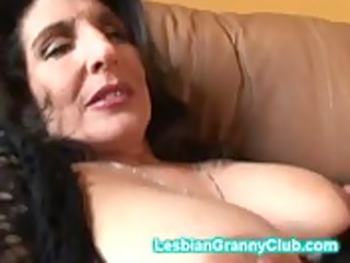slutty elderly brunette pleases with a really big