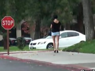woman big breast naked on street