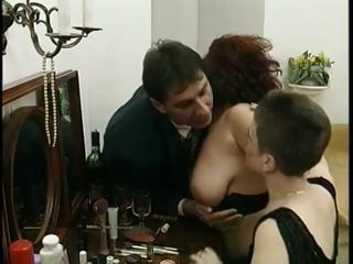 slutty busty mommy shares a massive dick with a