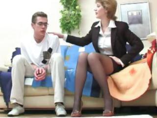 young fellow seduced by brunette angel and takes
