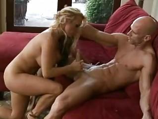 slutty blonde woman inside high heels drives on