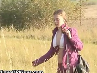 teen chick on a hike open-air exposes fully part2