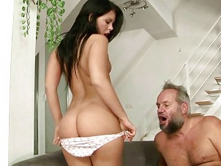 beautiful amateur has porn with naughty grandpa