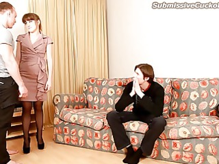 cuckold watches his maiden suck penis and obtain