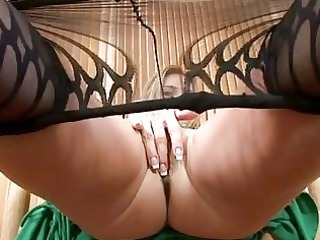lovely lady in nylons goes naked and pleases