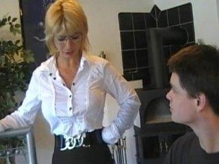 mommy teachs inexperienced boy 2