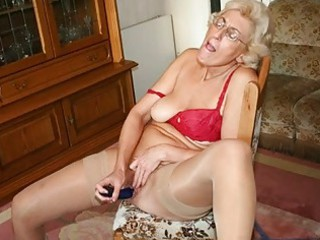 grandmom inside nylons pushing sex toy with