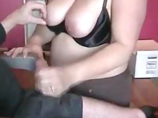 chubby wife giving astonishing handjob to lover