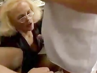 euro woman with glasses and girl sucking penis