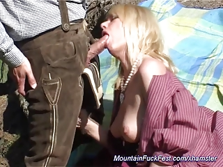 milf loves anal fuck into the mountain