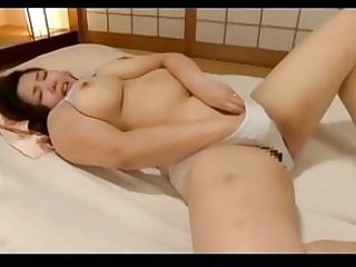horny plump angel pushing plastic cock with porn