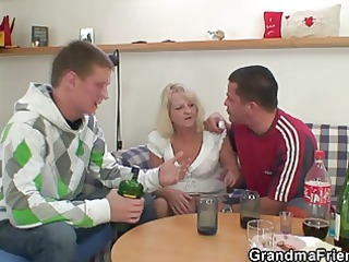 partying fuckers screw blonde elderly