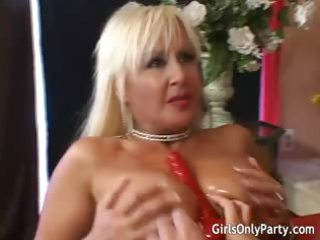 two chick gang pierce themselves with a big sex