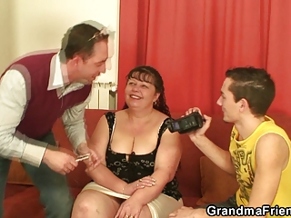 two funny boys drill mature fatty