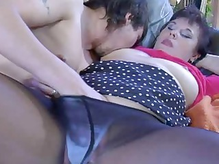 hot grown-up girl into ebony control top hose