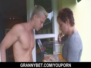 pretty neighbour granny gets banged by hung boy