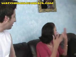 naughty brunette lady pays her son's debt by