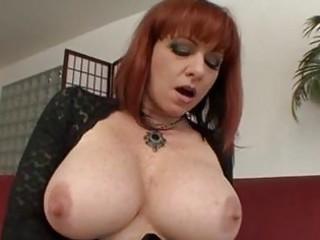 slutty elderly redhead gets hard boner up her
