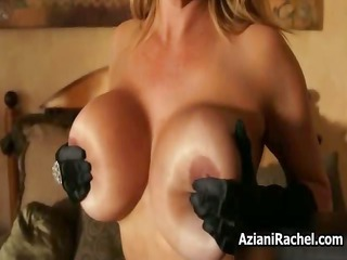 sybian adoring milf with giant boobs riding