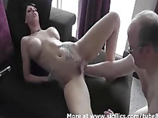 super brunette hand banged into her loose pussy