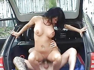 desperate amateur wife banged in a car with