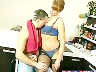 russian grown-up taking drilled by young boy