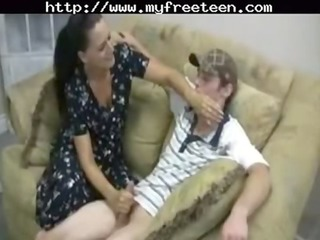 busty mother gives handjob teenager young amateur