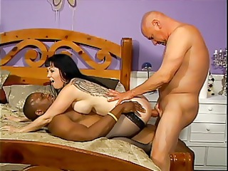 older lady inside stockings acquires on 3 huge