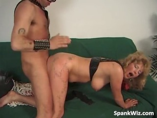 desperate lady gets her anal spanked