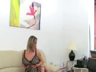 grown-up chick gangbanging on leather couch