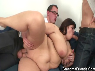 grownup fatty takes nailed by two penises