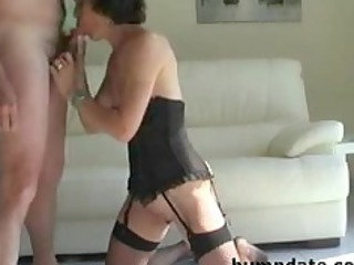 naughty cougar sucks hubbys cock and takes defaced