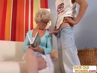 bushy granny with glasses