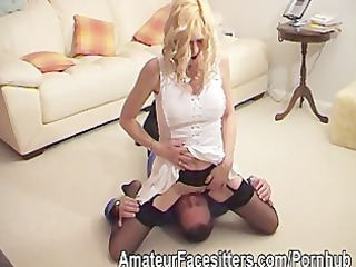 a maiden punishes her friend by sitting on his