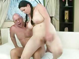 fortunate grandpa gangbanging with busty young