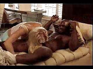 blond woman gang-bangs black neighbor inside