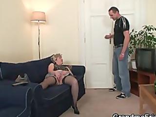 granny whore obtains two cocks after masturbation
