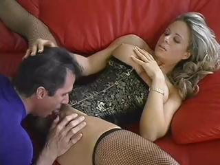 pretty desperate blond woman trades mouth porn