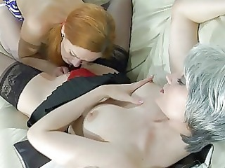 young red-haired takes licked by older blonde