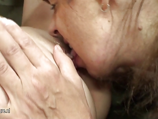 hot babe copulates busty grown-up homosexual
