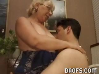grown-up granny takes a fresher penis to suck and