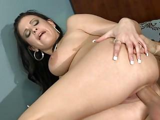 naughty brunette woman gang-bangs large plump