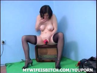 naughty brunette lady uses her large pink