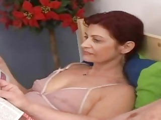 horny granny tasting granny penis into the bed