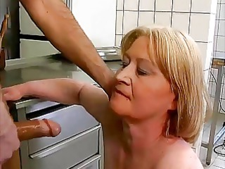 plump granny copulate and dick licking with food