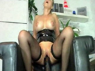 lady cums all over her brown dildo