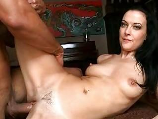 tanned brunette milf takes her clean minge rammed
